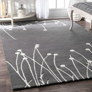 nuLOOM Grey Handmade Luna New Zealand Wool Area Rug