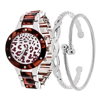 Arm Candy Via Nova Ladie's Fashion Silver and Cheetah Dial Watch with Set of 2 Bracelets