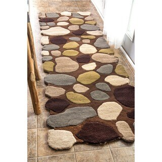 nuLOOM Hand-Carved Stones and Pebbles Wool Brown Runner Rug (2'6 x 8')