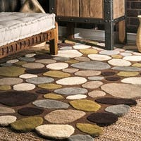 nuLoom Stones and Pebbles Natural/Beige/Brown Wool Handmade Runner Rug - 2'6 x 8'