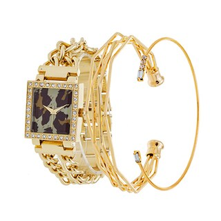 Via Nova Ladie's Fashion Gold Square Leopard Dial Watch with a Set of 2 Bracelets