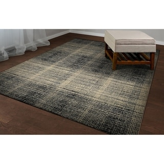 Power-Loomed Couristan Easton Suffolk/Black-Grey Rug (3'11 x 5'3)