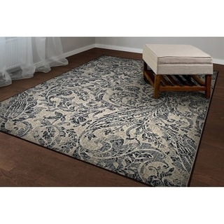 Power-Loomed Couristan Easton Prescott/Ivory-Black-Grey Rug (3'11 x 5'3)