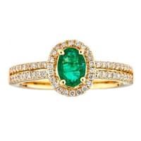 Anika and August 18k Yellow Gold Oval-cut Zambian Emerald and Diamond Ring