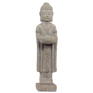 Cement Standing Buddha Figurine in Dhyana Mudra with a Bowl on a Platform Concrete Finish with Rust Accents Light Gray