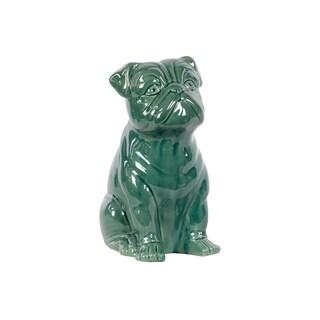 Ceramic Sitting American Bulldog Figurine Gloss Finish Turquoise