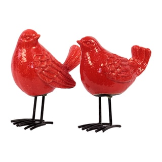 Ceramic Bird Figurine with Long Metal Legs Assortment of Two (2) Gloss Finish Red