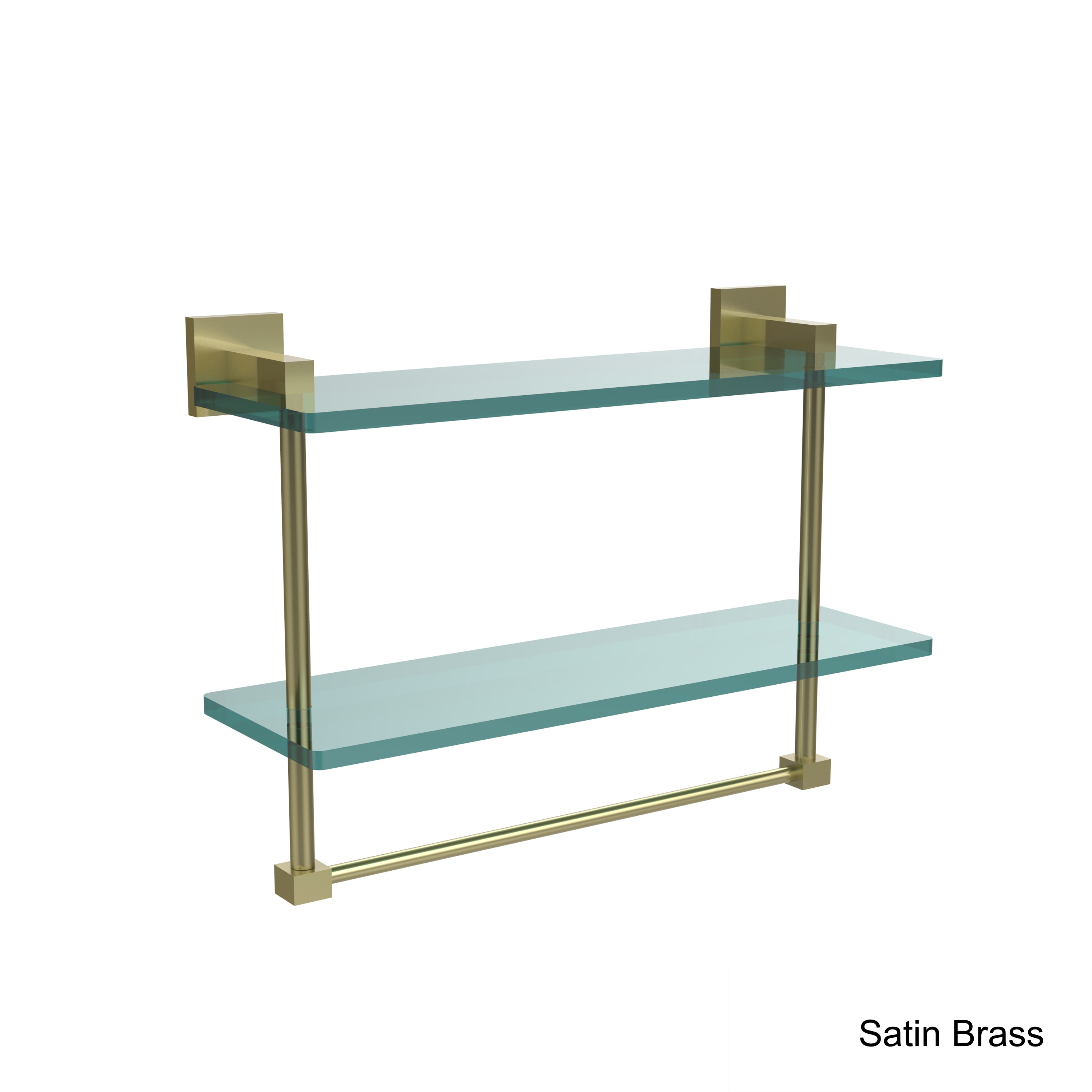 Allied Brass Montero Collection 16 Inch Two Tiered Glass Shelf With Integrated Towel Bar Overstock 11607269