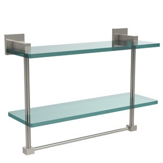 Allied Brass Montero Collection 16-inch Two-tiered Glass Shelf with Integrated Towel Bar