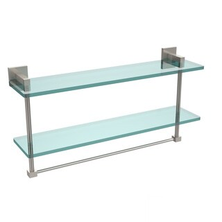 Allied Brass Montero Collection 22-inch Two-tiered Glass Shelf with Integrated Towel Bar