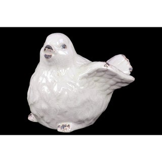 Ceramic Bird Figurine Distressed Gloss FInish White