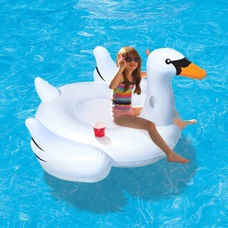 Elegant Giant Swan 73-inch Inflatable Ride-on Pool Float