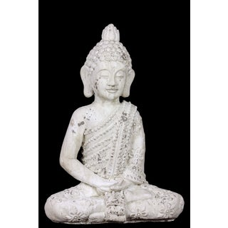 Stoneware Meditating Buddha Figurine with Bun Ushnish in Dhyana Mudra Matte Finish White