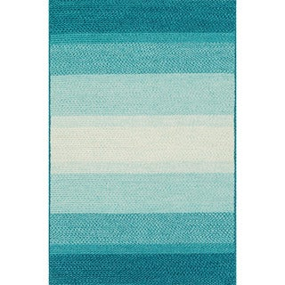 Indoor/ Outdoor Braided Blue Rug (5'0 x 7'6)