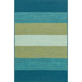 Indoor/ Outdoor Braided Blue/ Green Rug (2'3 x 3'9)