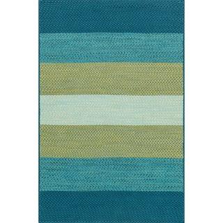 Indoor/ Outdoor Braided Blue/ Green Rug (3'6 x 5'6)