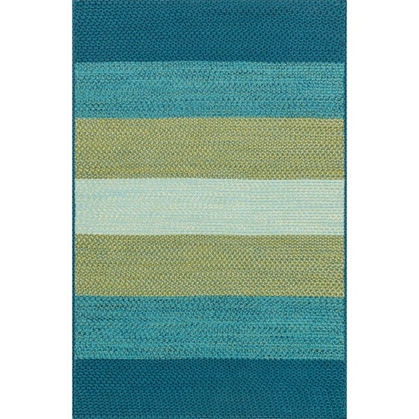 Indoor/ Outdoor Braided Blue/ Green Rug - 7'9 x 9'9
