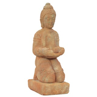 Tan Kneeling Buddha with Bun Ushnisha in Dhyana Mudra
