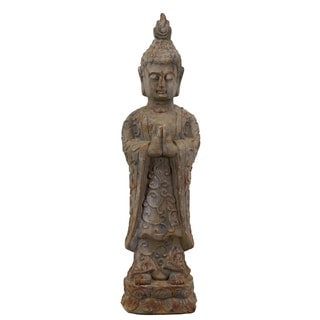 Cement Standing Buddha Figurine with Pointed Ushnisha in Anjali Mudra Antique Finish Gray
