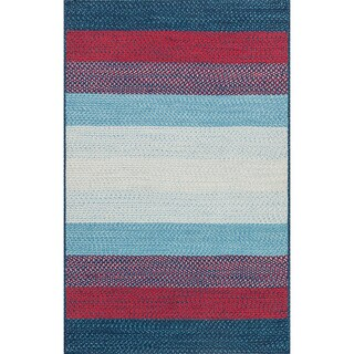 Indoor/ Outdoor Braided Blue/ Red Rug (2'3 x 3'9)