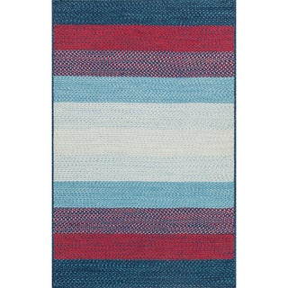 Indoor/ Outdoor Braided Blue/ Red Rug (5'0 x 7'6)