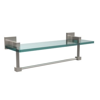 Allied Brass Montero Collection 16-inch Glass Vanity Shelf with Integrated Towel Bar