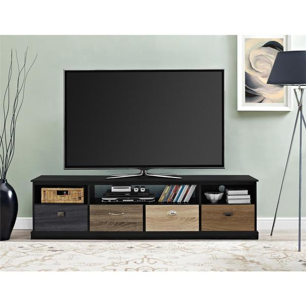 ameriwood home blackburn 65 inch tv console with multi colored drawer fronts free shipping. Black Bedroom Furniture Sets. Home Design Ideas