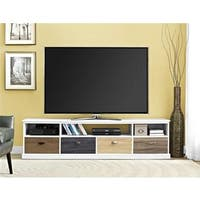 Ameriwood Home Mercer White 65-inch TV Console with Multicolor Drawer Fronts
