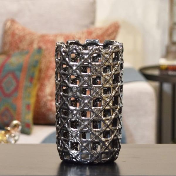 UTC50547: Ceramic Round Cylindrical Vase with Square Cutout Design SM Polished Chrome Finish Silver