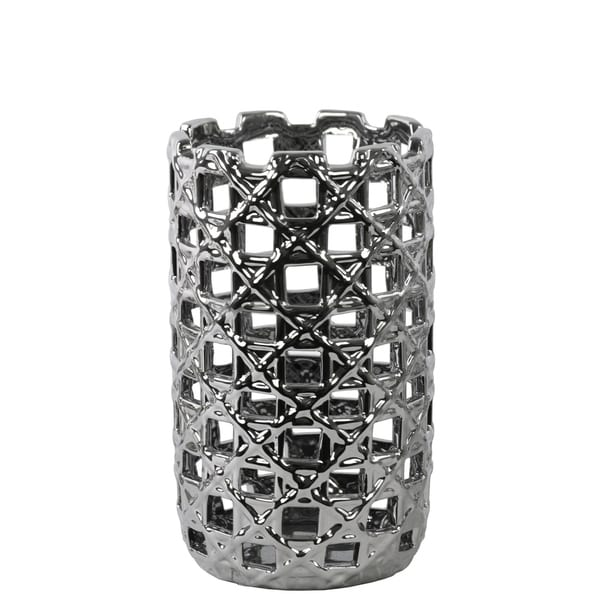 UTC50547: Ceramic Round Cylindrical Vase with Square Cutout Design SM Polished Chrome Finish Silver