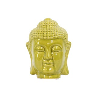Yellow Gold Finish Ceramic Rounded Ushnisha Buddha Head