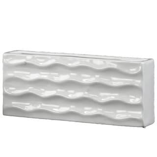 Ceramic Wide Rectangular Vase Gloss FInish White