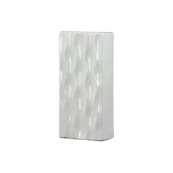 Utc50541 Ceramic Tall Rectangular Vase Lg Gloss Finish White Free