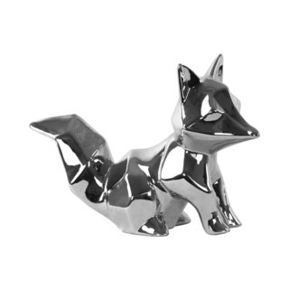 Polished Chrome Finish Silver Ceramic Sitting Geometric Fox Figurine