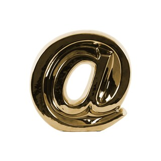 Ceramic Alphabet Symbol '@' Figurine Large Gloss Finish Gold