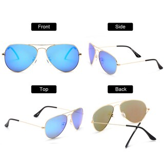 Dasein Premium Polarized Mirrored Classic Metal Frame Aviator Sunglasses