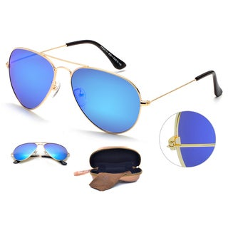 Dasein Premium Polarized Mirrored Classic Metal Frame Aviator Sunglasses