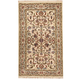 Herat Oriental Indo Hand-knotted Tabriz Ivory/ Green Wool Rug (3' x 5')