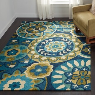 Hand-Hooked Couristan Covington Rip Tide/Ocean-Green Indoor/Outdoor Rug (5'6 x 8')