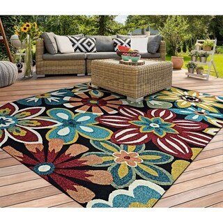 Hand-Hooked Couristan Covington Geranium/Navy-Multi Indoor/Outdoor Rug (5'6 x 8')