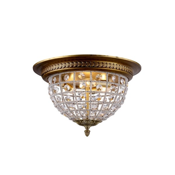 Somette Winsted Collection Crystal Trellis Flush Mount Ceiling Lamp