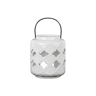 White Gloss Finish Ceramic Lantern with Quatrefoil Cutout Design and Metal Handle