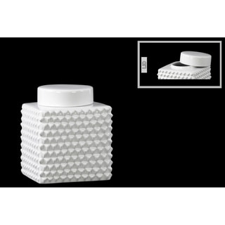 Ceramic Short Square Canister with Round Lid and Embossed Polygonal Design Small Gloss Finish White