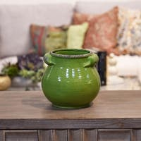 UTC31833: Ceramic Tall Round Bellied Tuscan Pot with Handles SM Craquelure Distressed Gloss Finish Yellow Green