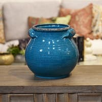 UTC31832: Ceramic Tall Round Bellied Tuscan Pot with Handles LG Craquelure Distressed Gloss Finish Biscay Bay Blue