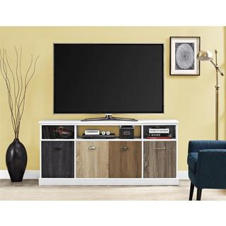 Ameriwood Home Mercer White 60-inch TV Console with Multicolor Door Fronts