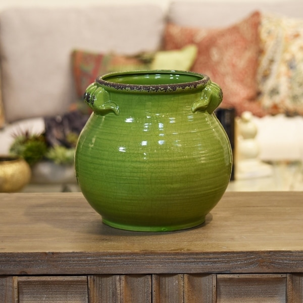 UTC31831: Ceramic Tall Round Bellied Tuscan Pot with Handles LG Craquelure Distressed Gloss Finish Yellow Green