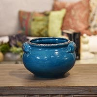 UTC31830: Ceramic Wide Round Bellied Tuscan Pot with Handles SM Craquelure Distressed Gloss Finish Biscay Bay Blue
