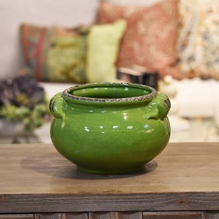 Distressed Yellow Green Craquelure Finish Ceramic Wide Round Bellied Tuscan Pot with Handles