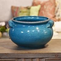 UTC31828: Ceramic Wide Round Bellied Tuscan Pot with Handles LG Craquelure Distressed Gloss Finish Biscay Bay Blue